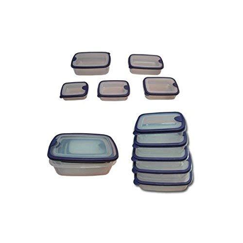 MSV 110012 Lot de 5 Boîtes Micro-Onde Polypropylène Transparent/Bleu 14,5 x 10 x 4,5 cm