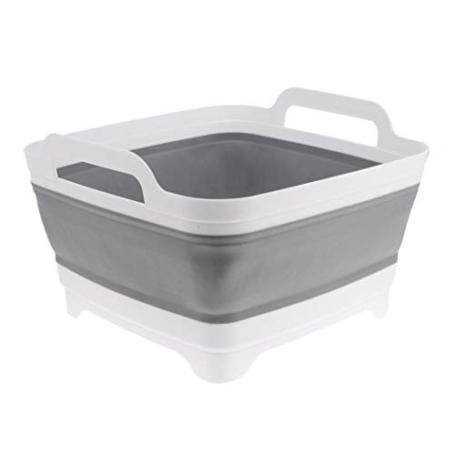 AAKitchen Collapsible Dish Pans Portable Washing Basin Dish Pan with Handle Foldable Strainer Wash and Drain Dish Tub Drainer over Sink Colander Draining Basket for RV Car WhiteGrey