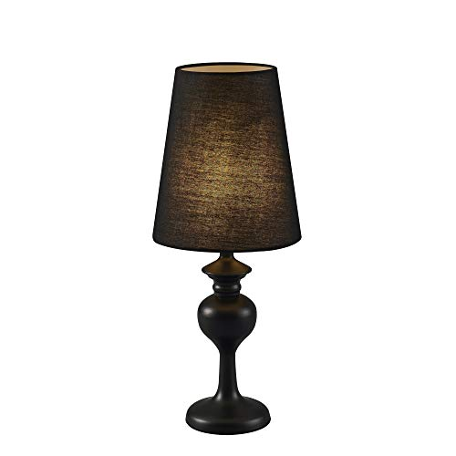 "Versanora Colton 17.5"" Metal Table Lamp with Matte Base and Black Shade, Black"