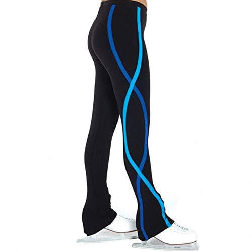 QWA Schlittschuhhose Eiskunstlauf, Thermo-Strumpfhose Eislaufhose für Kinder, Fleece Trainingshose Tanzhose Leggings (Color : Blue, Size : 150cm)