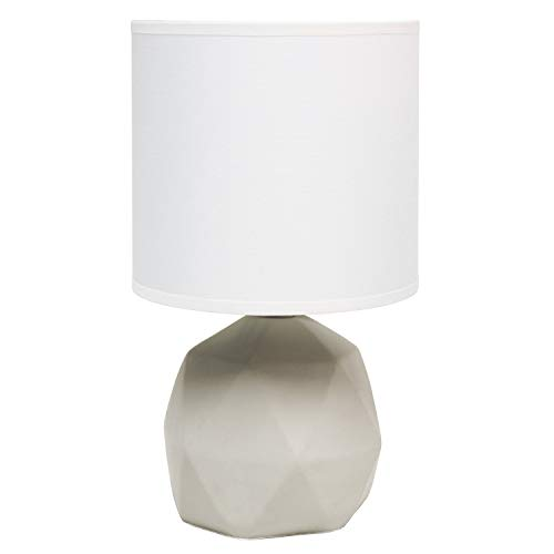 Simple Designs LT2060-WHT Geometric Concrete Table Lamp, White