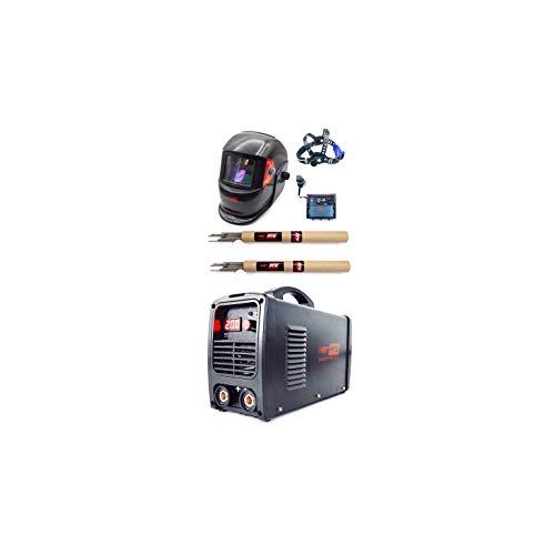 HERPRO Soldador Inverter Profesional IGBT de 200 amperios con Careta de Soldar Automática, Ligera y con Buena Visibilidad y Dos Paquetes de Electrodos para Soldadura por Arco MMA