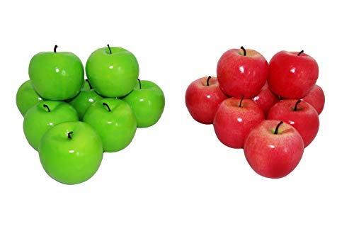 rukauf 16x Deko Äpfel Apfel ROT + GRÜN Kunstobst Kunstgemüse künstliches Obst Gemüse Früchte Dekoration