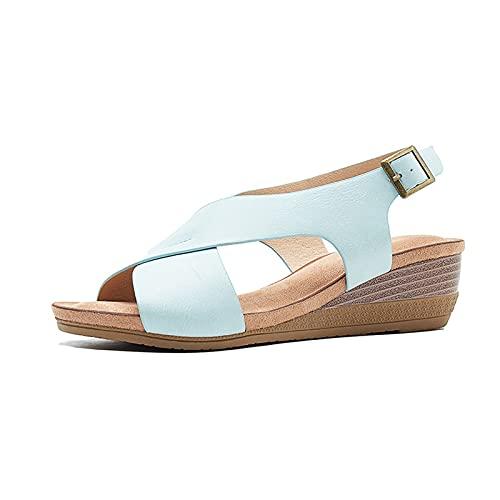 Gycdwjh Bohemio Sandalias de Mujer, Retro Verano Casual Sandalias Mujer Cómodo Cuña Peep Toe Zapatos de Playa para Uso Diario y Fiestas,Azul,39 EU