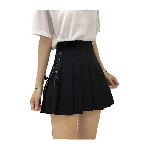 Falda plisada para mujer de línea sólida de cintura alta mini falda Harajuku gótico Punk Hip