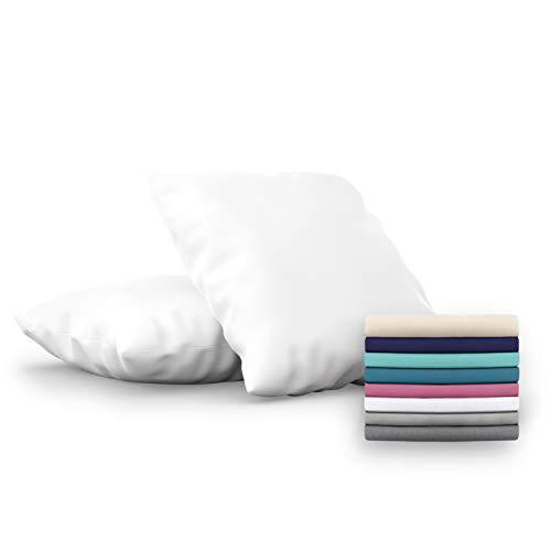 Dreamzie - Set de 2 x Funda de Almohada 60x60 cm, Blanco Alabastro, Microfibra (100% Poliéster) - Fundas de Almohadas Hipoalergénica - Fundas de Cojines de Calidad con una Suavidad Incomparable