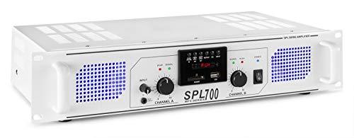 Skytec SPL 700MP3 Amplificador 2 x 350W con LEDs azules + EQ USB SD Blanco