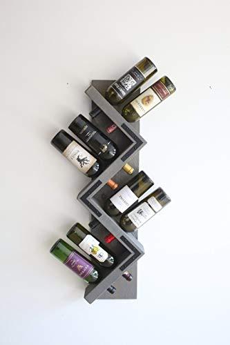 Artistic, Unique, Handmade 8-Bottle Zig Zag Rustic Wall Wine Rack