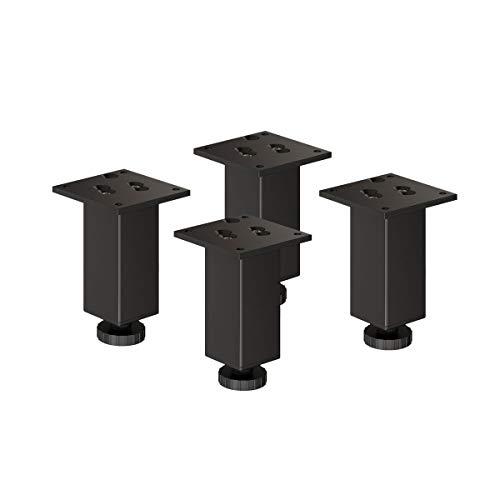 sossai Exklusiv - Aluminium Möbelfüße   E4MF-H   4er Set   höhenverstellbar   Höhe: 120mm (+20mm)   Farbe: Schwarz