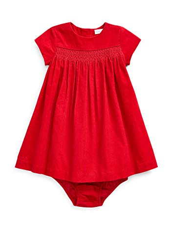 Ralph Lauren Baby Girls Corduroy Woven Dress & Bloomer 2 Piece Set (Red(3001)/Red, 18 Months)