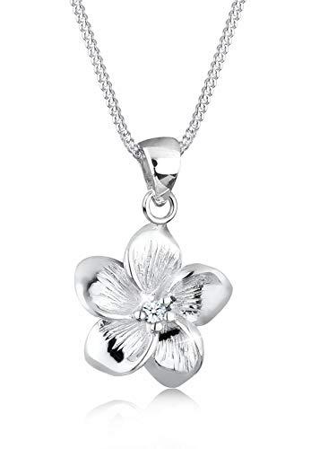 Elli PREMIUM Halskette Frangipani Blüte Diamant (0.03 ct) 925 Silber