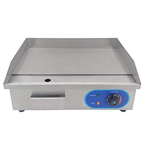 TAIMIKO Elektrische Grillplatte,Elektrogrill,220V 3000W (glatt,Gehäuse aus Edelstahl) Silber