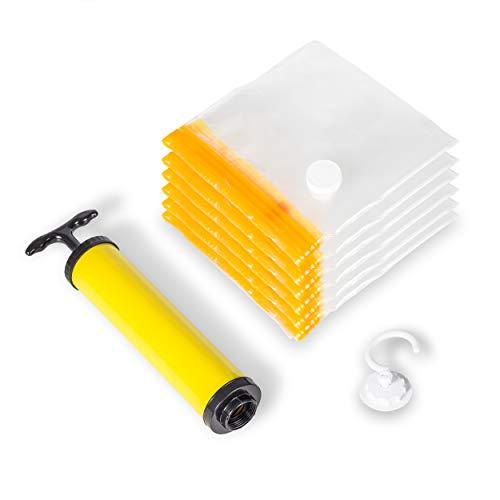 Travamo® Vakuumbeutel mit Haken zum Aufhängen - 6er Set inkl. Pumpe - Aufbewahrungsbeutel für Kleidung mit variablem Verschluss zum Legen und aufhängen - Kleiderbeutel wiederverwendbar