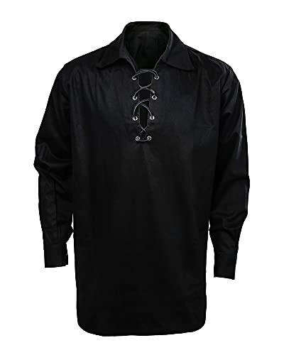 CUSFULL Hommes Scottish Blanc Chemise Jacobite Ghillie Kilt Shirt pour Kilt écossais Homme jacobéenne (L, Noir)