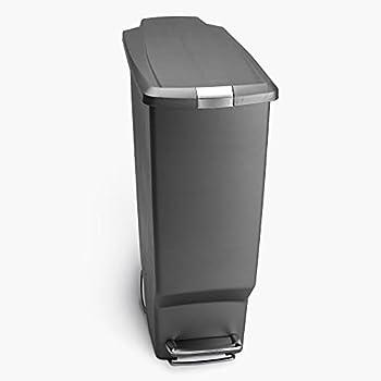 simplehuman Rectangular 40 Liter / 10.6 Gallon Slim Kitchen Step Trash Can with Secure Slide Lock Grey Plastic