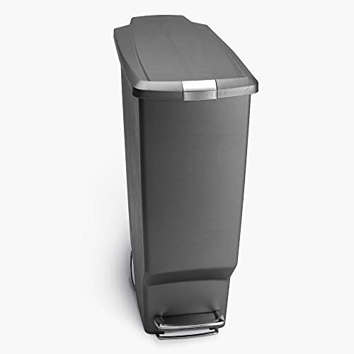 simplehuman Rectangular Plastic Step Trash Can, 40 Liter, Grey