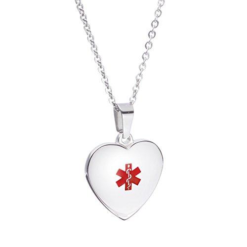 LinnaLove Collares de Alerta Médica para Mujer y Niña (Acero), Diseño de Corazón