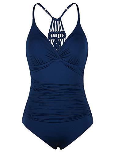Hilor Damen Einteilige Badeanzug Falten Bademode Macramé Schwimmanzug Neckholder Monokinis Marineblau 44
