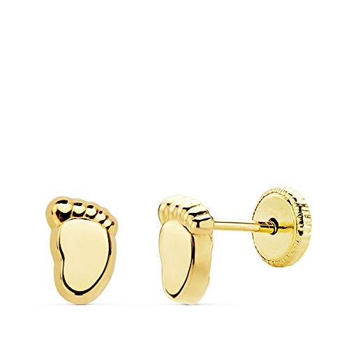 Pendientes Bebé Niña Pies Oro Amarillo 18K 6,5 MM