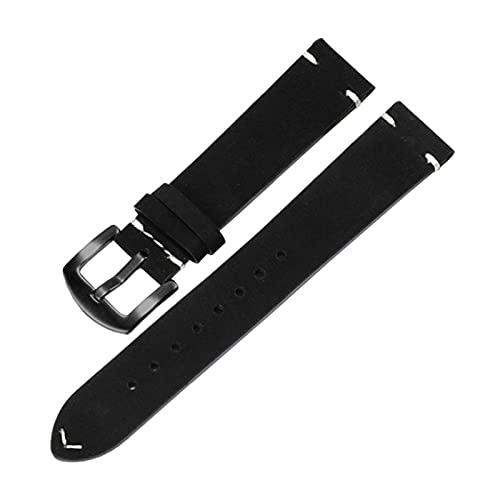 18mm/20mm/22mm esmerilado de cuero genuino correa de reemplazo Hebilla reloj pulsera pulseras de reloj de cuarzo analógica, 20mm