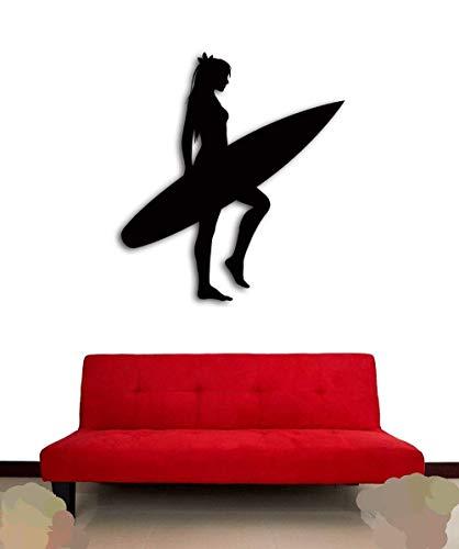 Wandaufkleber, Mädchen Schlafzimmer Wandaufkleber, Serf Serfing Girl Mit Serf Board Ocean Beach Coolste Geschenk Tapete Vinyl Bild Badezimmer Paste Schlafzimmer