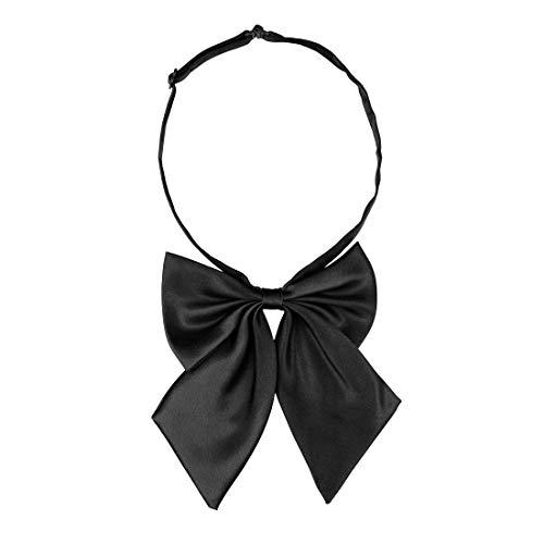 sourcingmap Damen Einstellbare feste Farbe Schleifer Halter Hals Bogen Krawatte Schwarz Einheitsgröße
