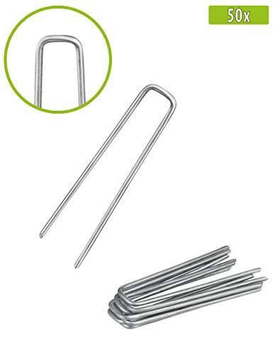 Balinco 50x Anti-ROST Erdanker | Bodenanker | Erdnägel aus verzinktem Stahl zur Befestigung von Unkrautvlies | Unkrautfolie | Gartenvlies | Zaun & Netz oder fürs Camping - (50, 100x13x2,9 mm)