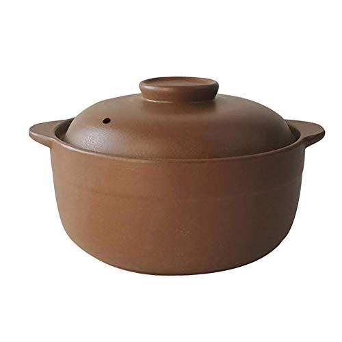 SBDLXY Cazuela de cerámica sin esmaltar con Tapa, Olla de Barro Hecha a Mano Olla de Barro ollas de Sopa de Cebolla Olla de Sopa para cocción Lenta A 1.69 Cuartos