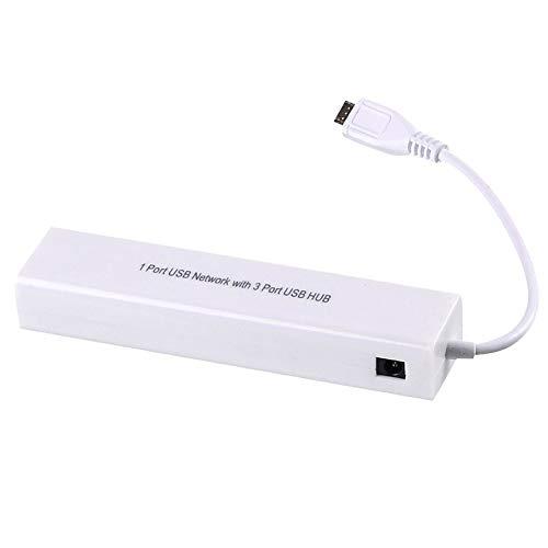Profusion Cicle Adaptador Portátil De 3 Puertos Micro USB 2.0 HUB Smart A RJ45 De Red Ethernet para Accesorios para Android Blanco