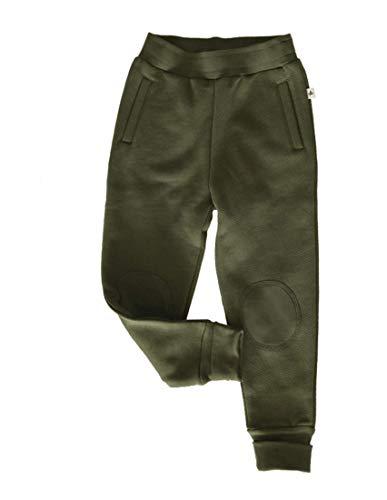 Leela Cotton Baby Kinder Hose aus Fleece Bio-Baumwolle GOTS Jungen Mädchen Gr. 98 bis 128 (98/104, grün - thymian)