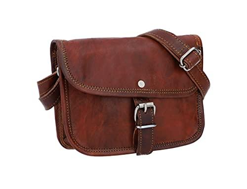 Gusti Umhängetasche Damen Leder - Mary S Ledertasche Handtasche Schultertasche Crossbody Damen Vintage Braun