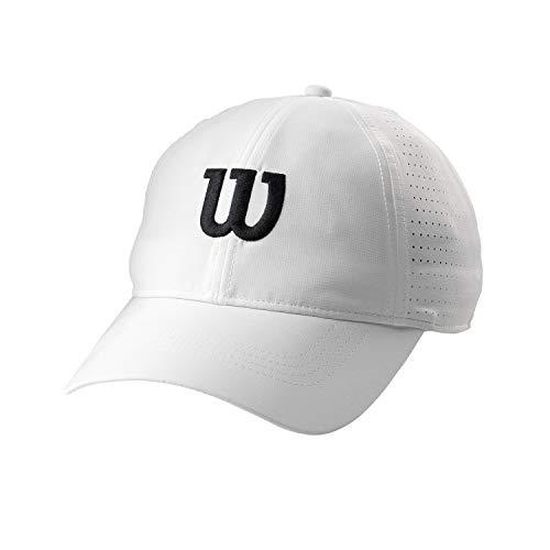 Wilson WRA777101 Cappellino da Tennis, Leggero, Mesh 100% Poliestere, Taglia Unica, Bianco/Nero