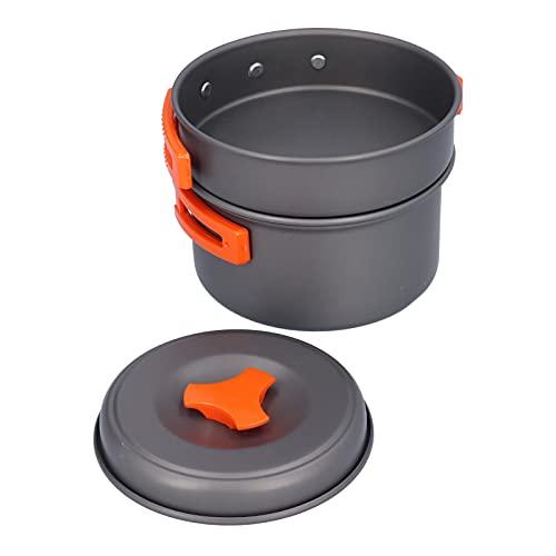 FECAMOS Kit de Utensilios de Cocina para Acampar, sartén de Gran Capacidad, Recipiente, Cuchara, Kit para hervir y freír Alimentos al Vapor