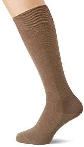 FALKE Herren Kompression Kniestrümpfe Energizing Wool, Schurwolle/Baumwollmischung, 1 Paar, Braun (Nutmeg Melange 5410), Größe: 45-46