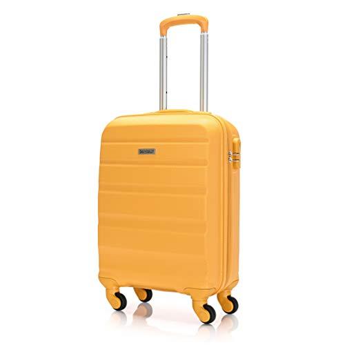 Bontour Bagaglio A Mano Valigia Rigida Piccola Trolley Leggera 55x40x20 Cm Con 4 Ruote (Giallo)
