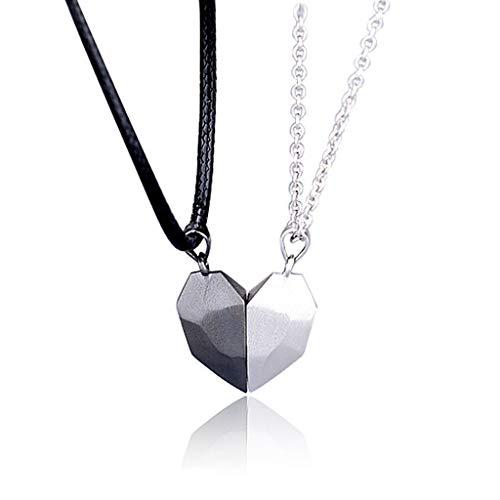 BMBN Colgante de corazón Negro Colgante de corazón de Plata, 2 Piezas Amantes Minimalistas a Juego Amistad Colgante de corazón Pareja Distancia magnética Collar con Colgante de corazón facetado Joyas