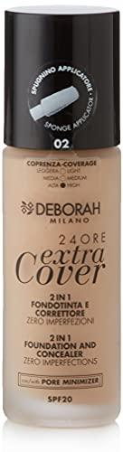 Deborah Fondotinta 24ORE Extra Cover N.02 Beige SPF20, ad Altissima Coprenza e Lunga Tenuta, applicatore di precisione per uso correttore