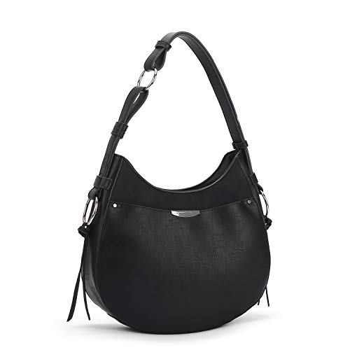 AFKOMST Hobo Bags for Women,Faux Leather Purses and Handbags, Large Shoulder Bags with Tassel, Black