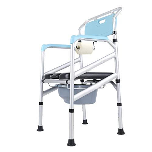 Silla Inodoro WC,Regulable en Altura Silla   De aluminio   Con tapa   Conteras antideslizantes  para WC-Silla para Ducha con Reposabrazos