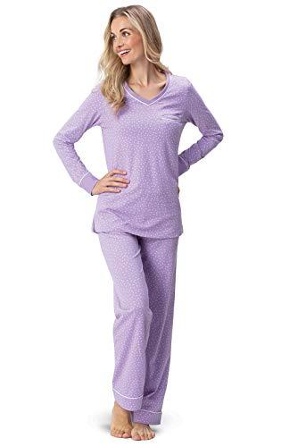 PajamaGram Petite Pajamas for Women - Womens Petite Pajamas Set Lavender L 12-14