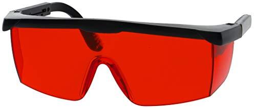 Laserlichtbril rood voor betere herkenning van laserstralen, bril voor beter zicht op laser met rode kunststof glazen en zwart frame.