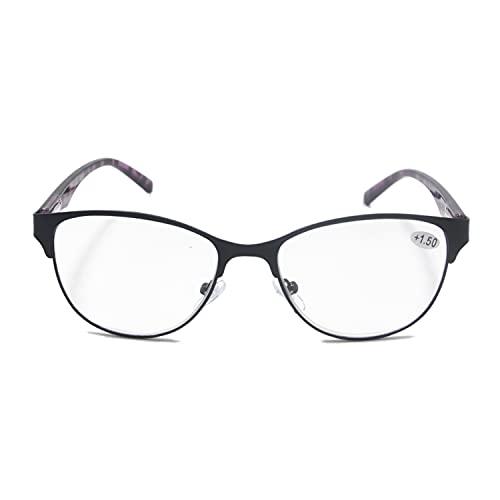 Henghao 老眼鏡 ブルーライトカット キャットアイ メタルフレーム メガネ 女性シニアグラス おしゃれ リーディンググラス 専用ケース付 H6036 (ブラック, +3.50)