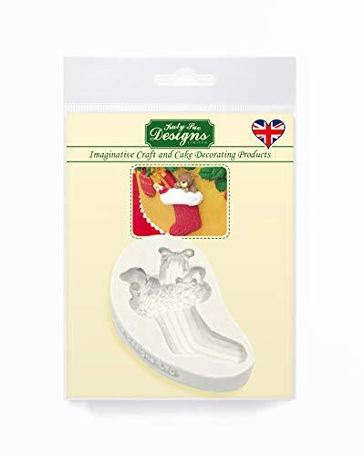 Kerst Stocking Cake Embellishment siliconen mal voor taartdecoratie, ambachten, cupcakes, suikerwerk, snoepjes, kaarten en klei, voedselveilig goedgekeurd, gemaakt in het Verenigd Koninkrijk