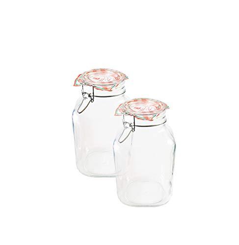 Bormioli Tarros de Cristal 203390# para conservas, con Cierre de Abrazadera, 2litros