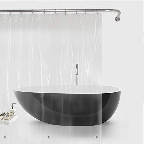 Duschvorhang Bamyko PEVA 3 Gauge Duschvorhänge Antischimmel, Wasserdicht, Ungiftig, Umweltfreundlich, Keine Chemischen Geruch für Badezimmer - 180 x 180cm, Transparent