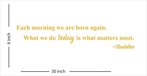 Each morning we are born again. What we do today is what matters most. ~Buddha (Each morning…~Buddha, Gold)