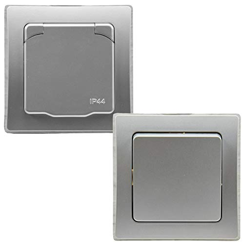 DELPHI IP44 Steckdose und Schalter für Aussen 250V Unterputz Schutzkontakt-Steckdose mit Klappdeckel Wechselschalter für Feuchträume und Aussenbereich I Grau Silber