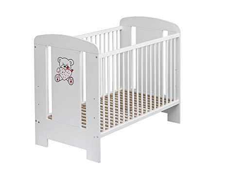 Best For Kids Gitterbett in 3 Farben mit 10 cm Matratze aus Schaumstoff TÜV Zertifiziert Geprüft, Kinderbett Babybett weiß 4 Teile (Weiß mit Matratze)