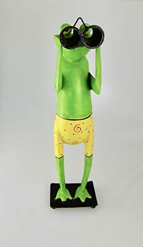Metallfigur Metalldeko Frosch Spanner mit Fernglas Gartendeko Gartenfigur 50 cm