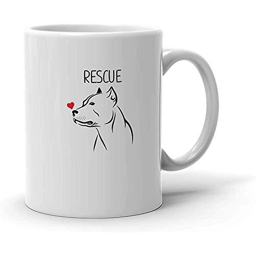 Niedliche Rettungshund Pitbull Mamma-Kaffeetasse, die Hundegeschenke für Mann-Frauen-Weiß-Becher annimmt